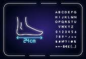 Foot length neon light icon
