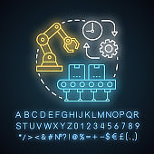 Batch production neon light concept icon. Manufacturing method idea. Continuous production process. Machinery equipment. Glowing sign with alphabet, numbers and symbols. Vector isolated illustration
