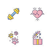 Lifestyle RGB color icons set. Gym workout. Dumbbell for exercise. Heart rate. Cardio healthcare. Pet paw prints. Open gift. Birthday present for social media highlights. Isolated vector illustrations