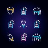 Male clothing sizes neon light icons set