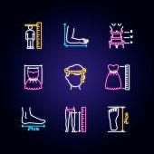Tailor measurements neon light icons set