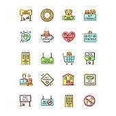 Dog friendly and no pet signs RGB color icons set. Cats and dogs allowed and banned areas, free and closed entry. Domestic animals welcome and not allowed zones. Isolated vector illustrations