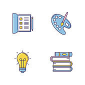 Hobby and work RGB color icons set. Open notebook. Checkboxes in list. Artist palette with paint brush. Glowing lightbulb. Stack of books. Creative craft. Isolated vector illustrations