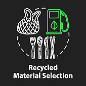 Recycled material selection chalk RGB color concept icon. Environment protection. Garbage disposal and reuse. Eco products idea. Vector isolated chalkboard illustration on black background
