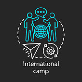 International exchange camp chalk concept icon. Meeting new people abroad, experiencing foreign cultures idea.Travelling around globe, world. Vector isolated chalkboard illustration