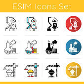 Industry types icons set. Aerospace, chemical, construction sectors of economy. Technology development. Flat design, linear, black and color styles. Isolated vector illustrations