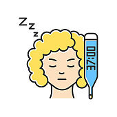 Raised basal temperature RGB color icon. Early pregnancy symptom. Girl feeling sick. Ill woman. Lady with fever. Heatstroke. Feeling unwell. Thermometer check. Isolated vector illustration