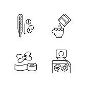 First aid medication linear icons set
