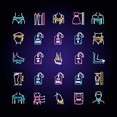 Clothing sizes neon light icons set