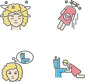 Early pregnancy symptom RGB color icons set. Lady with dizziness. Woman fainting. Frequent urination urge. Vomiting from nausea. Sick from food poisoning. Isolated vector illustrations