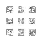 Drive in services linear icons set