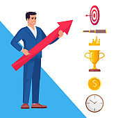 Workplace aims and goal setting semi flat RGB color vector illustration. Ambitious top manager isolated cartoon character on white background with icons set. Business strategy vision
