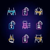 Female clothing size neon light icons set