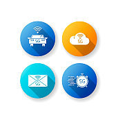 5G wireless technology flat design long shadow glyph icons set. Smart vehicle. Fast speed. Cloud computing. Improved messaging. Mobile cellular network. Silhouette RGB color illustration