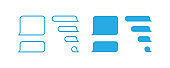Bubble text icon, phone message. Smartphone chat isolated illustration in vector flat