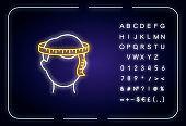 Head circumference neon light icon