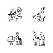 Babysitting service pixel perfect linear icons set. Babysitter job pay rate. Pet sitting. Customizable thin line contour symbols. Isolated vector outline illustrations. Editable stroke