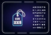 XXS size label neon light icon