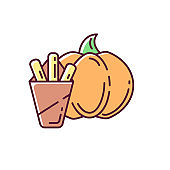 Pumpkin fries RGB color icon