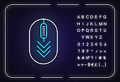 Computer mouse with down arrows neon light icon. Scrolldown gesture indicator. Web cursor. Outer glowing effect. Sign with alphabet, numbers and symbols. Vector isolated RGB color illustration