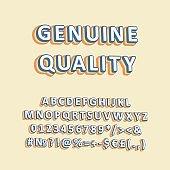 Genuine quality vintage 3d vector alphabet set