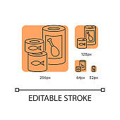 Canned goods and soups orange linear icons set
