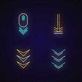Scrolling down and uploading indicators neon light icons set. Arrows interface navigation buttons. Website page cursor. Signs with outer glowing effect. Vector isolated RGB color illustrations