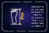 Foot length from toe to heel neon light icon