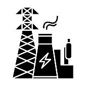 Energy industry glyph icon. Power engineering. Electricity generation and transmission. Nuclear power plant and high voltage tower. Silhouette symbol. Negative space. Vector isolated illustration