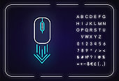 Scrolling down computer mouse neon light icon. Internet page browsing arrow. PC mouse. Outer glowing effect. Sign with alphabet, numbers and symbols. Vector isolated RGB color illustration