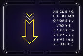 Down arrow neon light icon. Scrolldown gesture, interface navigational button. Web cursor. Outer glowing effect. Sign with alphabet, numbers and symbols. Vector isolated RGB color illustration