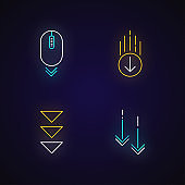 Scrolling down neon light icons set. Computer mouse and arrowheads in circles buttons. Way direction. Cursor, indicator. Signs with outer glowing effect. Vector isolated RGB color illustrations