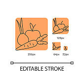 Fruits and vegetables orange linear icons set