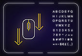 Scroll down mouse neon light icon. Internet page browsing arrows. PC mouse and arrowheads. Outer glowing effect. Sign with alphabet, numbers and symbols. Vector isolated RGB color illustration