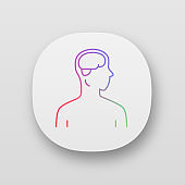 Healthy brain app icon. Human organ in good health. People wellness. Functioning nervous system. Mental health. UI/UX user interface. Web or mobile applications. Vector isolated illustrations