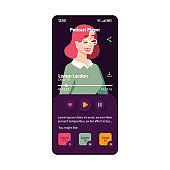 Podcast player smartphone interface vector template. Mobile app page black and purple design layout. Lection screen. Flat UI for application. Foreign language learning. Music player. Phone display