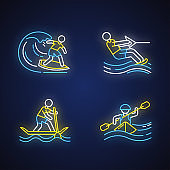 Watersports neon light icons set. Surfing, water skiing, rafting and sup boarding. Extreme kinds of sports. Summer vacation leisure, adventures. Glowing signs. Vector isolated illustrations