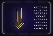 Down arrow neon light icon. Scrolldown interface navigational button. Downloading process, cursor. Outer glowing effect. Sign with alphabet, numbers and symbols. Vector isolated RGB color illustration