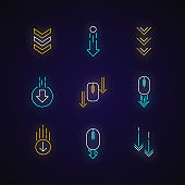 Scrolling down arrows neon light icons set. Computer mouse and arrowheads in circles buttons. Web cursor. PC elements. Signs with outer glowing effect. Vector isolated RGB color illustrations