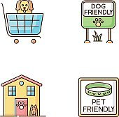 Pet friendly areas RGB color icons set. Four-legged friends welcome shops and houses. Animal shelter, domestic animals allowed parks and supermarkets. Isolated vector illustrations