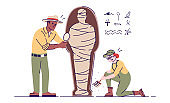 Archaeologists exploring mummy flat vector illustration. Archeological expedition. Man and woman researching egyptian artifact isolated cartoon characters with outline elements on white background