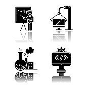 Industry types drop shadow black glyph icons set. Education, televisors production, chemical industry, programming and coding. Services and manufacturing. Isolated vector illustrations