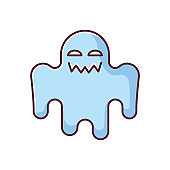 Horror movie blue RGB color icon. Scary film genre, creepy ghost story. Popular cinema category with paranormal monsters. Spooky spectre isolated vector illustration