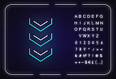 Scrolling down arrows button neon light icon. Three downward arrowheads, indicators. Outer glowing effect. Sign with alphabet, numbers and symbols. Vector isolated RGB color illustration