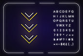Scrolling down button neon light icon. Arrowheads, scrolldown web cursor, indicator. Outer glowing effect. Sign with alphabet, numbers and symbols. Vector isolated RGB color illustration