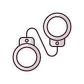 Criminal drama gray RGB color icon. Popular movie genre, common cinema category. Detective mystery, legal crime investigation. Handcuffs isolated vector illustration