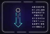 Down arrow and circle neon light icon. Vertical scrolling gesture for touch screen. Outer glowing effect. Sign with alphabet, numbers and symbols. Vector isolated RGB color illustration
