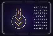 Moving down arrow in circle neon light icon. Mobile app page browsing indicator. Outer glowing effect. Sign with alphabet, numbers and symbols. Vector isolated RGB color illustration