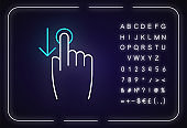 Down scrolling finger neon light icon. Scrolldown gesture for smartphone touch screen. Outer glowing effect. Sign with alphabet, numbers and symbols. Vector isolated RGB color illustration