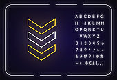 Three down arrows neon light icon. Vertical scrolling button. Downloading process indicator. Outer glowing effect. Sign with alphabet, numbers and symbols. Vector isolated RGB color illustration